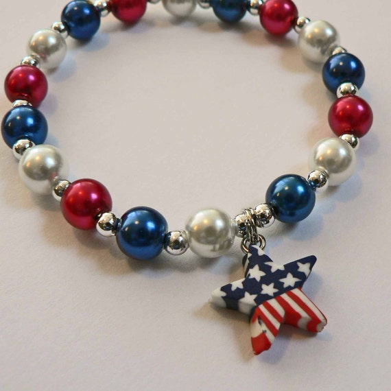 May The 4th Be With You Necklace: Patriotic Personalized Pearl Name Bracelet Red White N Blue