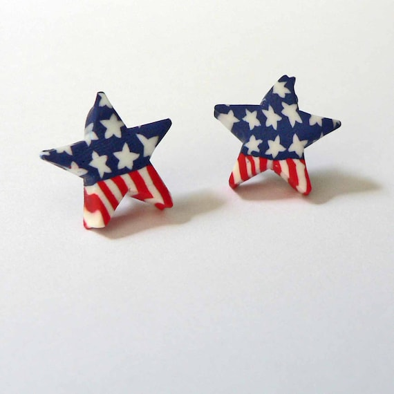 Memorial Day HYPOALLERGENIC Post Earrings Stars and Stripes Red White and Blue Clay Star Earrings Patriotic Jewelry Independence Day