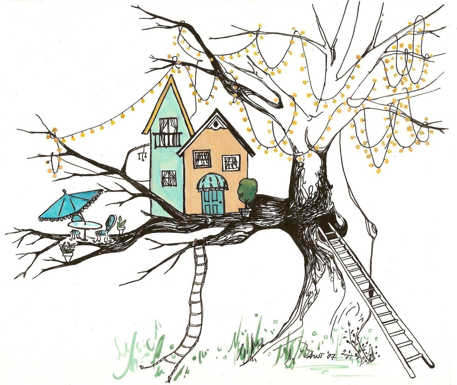 Tree house print for Tree house blueprint maker