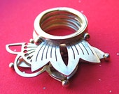 Sterling Silver Double Stack Ring with Lotus
