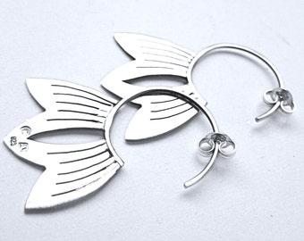 Sterling Silver Lotus Petal Earrings
