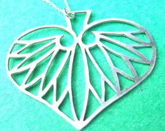 Sterling Silver Hasu No Ha (Lotus Leaf) Pendant