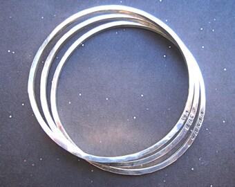 3 Sterling Silver Hammered Bangles