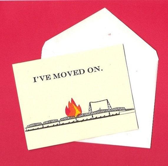 Burning Bridge Foldover Card with Envelope