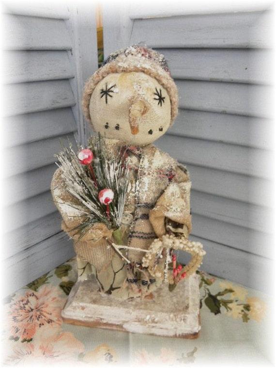 Primitive Winter Snow Snowflake Snowman Doll Holiday Christmas Vintage Figurine Mica Art by Mustard Seed Originals PAFA TDIPT