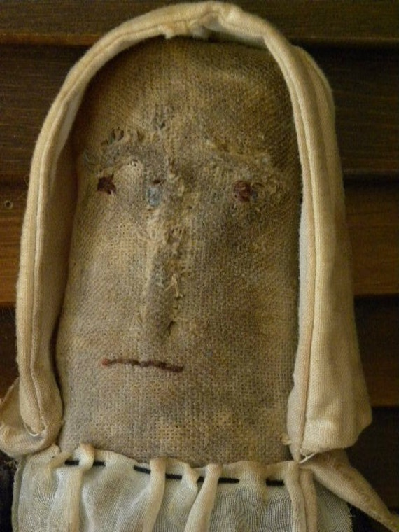 Primitive Early American Prairie Old Tyme Rag Church Blue Handstitched 1897 Doll by Mustard Seed Originals
