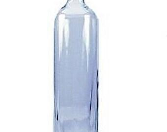 Glass bottle with cork -Tall Bottle -17 oz Square Glass Bottle  - Glass Decorative Bottle - 14 inch tall -Flower Vase -Sand Art Bottle