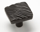 "1.5"" Diagonal Textured Knob 0426 - Wrought Iron Cabinet Hardware - iron pulls - hand forged - door pulls - decorative hardware - blacksmith"