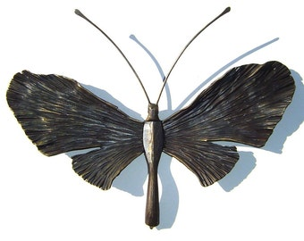 "Forged Iron Butterfly Sculpture - 15"" wide. Blacksmith Art, Butterfly Art, butterfly decoration, butterfly wall art, metal art, iron art"