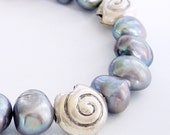 Freshwater Pearl and Thai Silver Sea Shell Bracelet