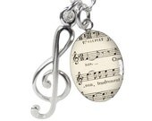 Sheet Music and Treble Clef Necklace
