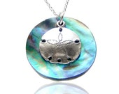 Sterling Silver and Paua Shell Sand Dollar Necklace