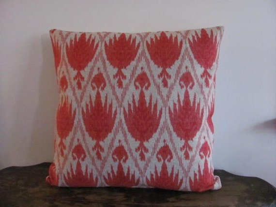 Designer Geranium Ikat 16x16 Pillow Cover