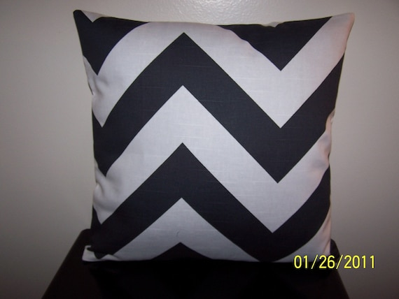One Black and White Zig Zag 16X16 Pillow Cover Zipper closures