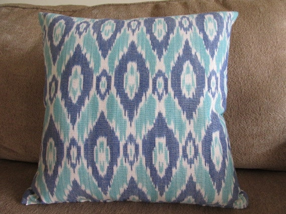 Free US Shipping-Designer 18 X 18 Ikat Pillow Cover With Zipper Closure