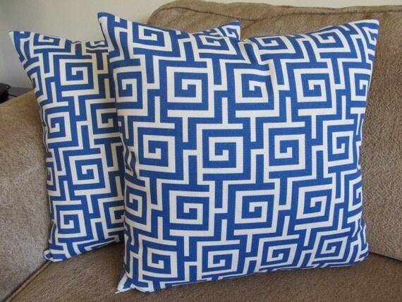 One Greek Maze Designer Blue and Cream 18 X 18 Pillow Cover