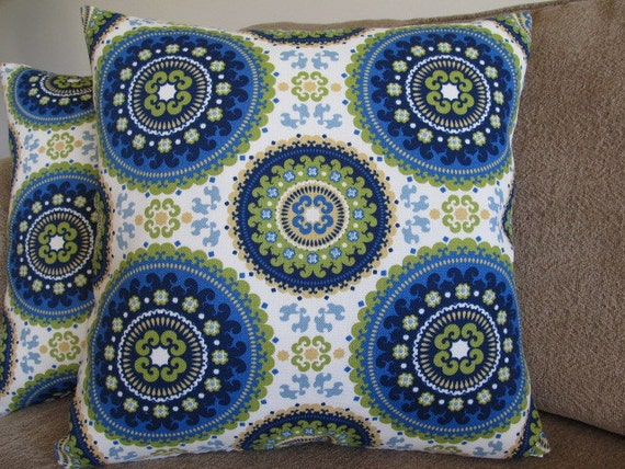 One suzani Designer Blues, Greens and Cream 16 X 16 Pillow Cover