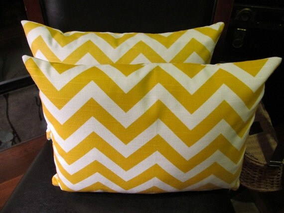 Custom order for Heather-Sale Two Yellow and White Zig Zag 12X16 Pillow Cover Zipper closures