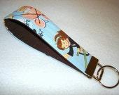 Wristlet Key Fob - Kids Playing Brunette Girl Key Chain Vintage Inspired Print