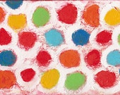 Red Yellow Blue Lime White Circles Contemporary Abstract Painting - This Time Around - 7 x 5 inches
