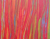 Yellow Red Blue Green Lines Contemporary Abstract Art Painting - Stream of Thoughts