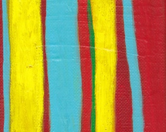 SALE Red Yellow Blue Green Contemporary Abstract Art Painting - The Space Between Words