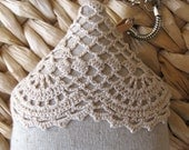 House  Keychain Keyring Fob - Linen and Vintage Crochet