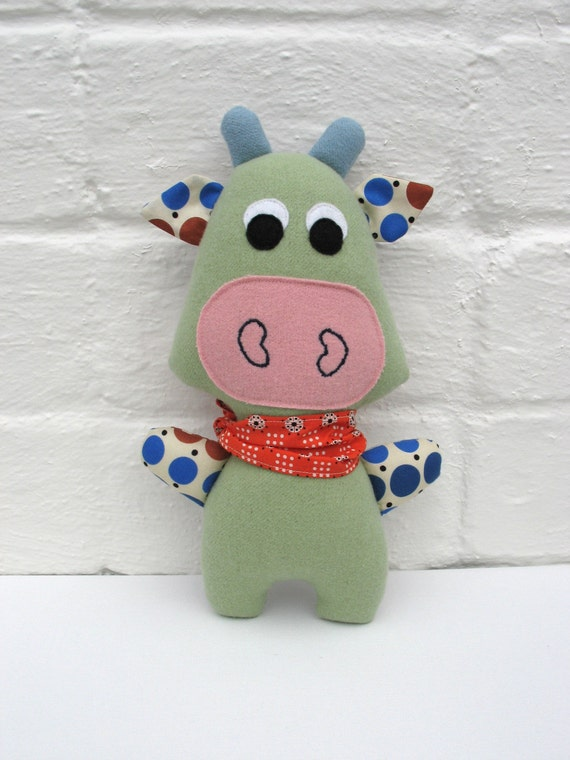 Stuffed Plush Cow - felted wool and cotton softie