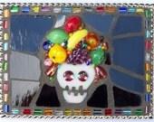 Mosaic Belt Buckle, Carmen Miranda, Skull, Fruit