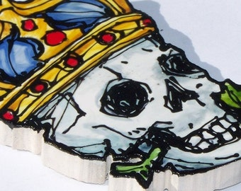 Tattoo-style Tile, Mosaic Tiles, Hand Painted, Crowned Skull, Rose