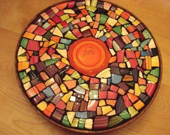 Mosaic Tile Lazy Susan Vintage New Colorful Broken Plate Solid Colors