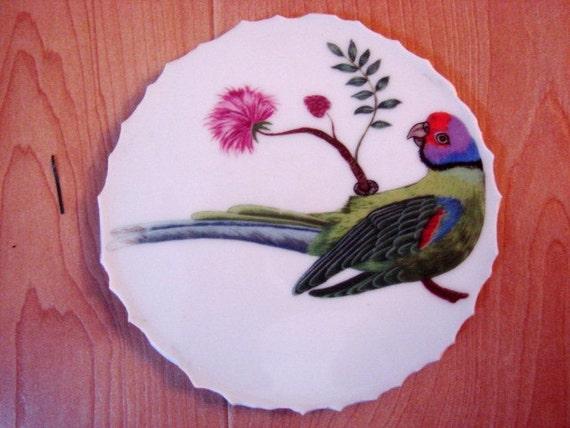 Mosaic Tiles Vintage Fitz Floyd Parrot Jungle Bird Focal Plate Pieces