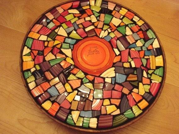 Mosaic Tile Lazy Susan Vintage New Colorful Broken Plate Solid