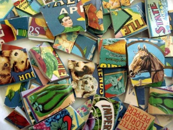 Mosaic Tiles Retro Ads Vintage Labels Broken Plate TileArt Supply