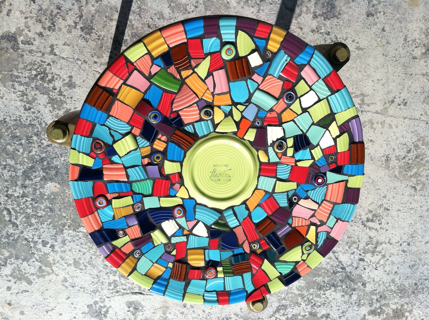 Mosaic tile art retro modern round end table colorful hand for Mosaic tiles for craft