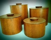 Vintage Mod Retro set of wood canisters