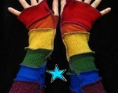 Recycled sweater Arm Warmers - Rainbow -RESERVED