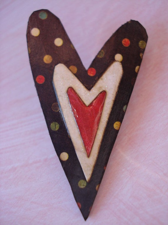 vaLeNtiNe heArt bRoOch bLack wHiTe reD aNd dOts