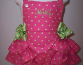 Polka dotted ruffled sunsuit personalized