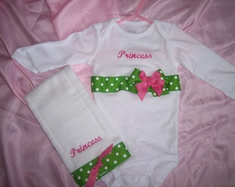 Princess Onesie with matching Burp cloth personalized