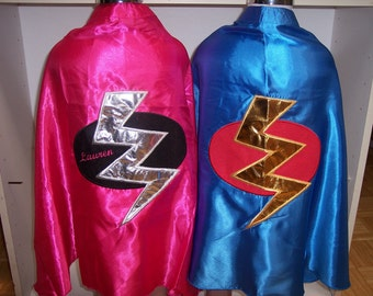 girls  superhero cape with lightening bolt and personalzied with name