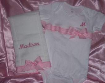 Monogrammed Onesie with matching Burp Cloth Personalized for you.