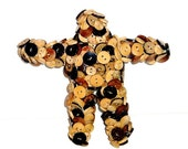 Folk Art Doll with Mixed Wood and Coconut Buttons