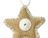 Burlap Whipstitched Holiday Ornament with Disc