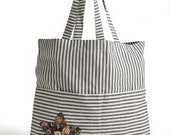 Large Tote Bag with Star Button Trim