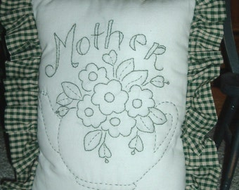 HAND EMBROIDERED Mother's Pillow in Country Green