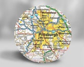 Sale SALE Pocket Mirror Maps Pittsburgh Pennsylvania Travel Gift