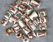 Vintage Ceramic Beads 25 Terracotta, White, Sage Green