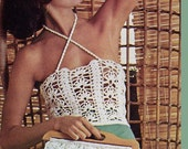 BEAUTIFUL vintage pattern 1970s sexy sheer crochet tank top sun top vest corset with matching bag purse