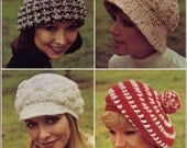 WOW PATTERN a collection of four winter hats 1970s vintage knit and crochet stripe beret tamoshanter cap with brim